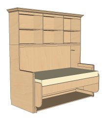 StudyBED™ Twin w/ Top Cabinet & Crown